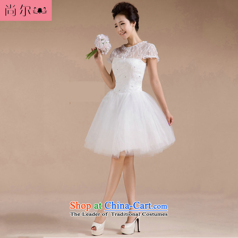 Naoji a 2014 new anointed chest lace package shoulder flowers knee sister bridesmaid small dress al00269 white�s