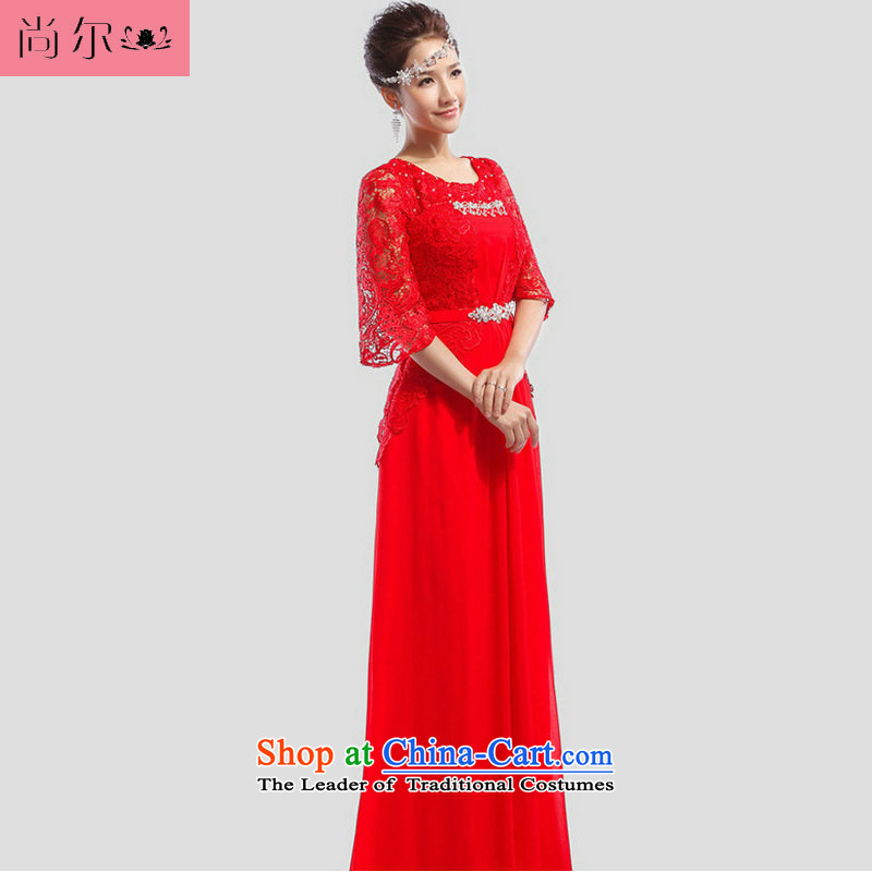 Naoji a 2014 new bride bows dress marriage evening dress al00254 moderator red?XL