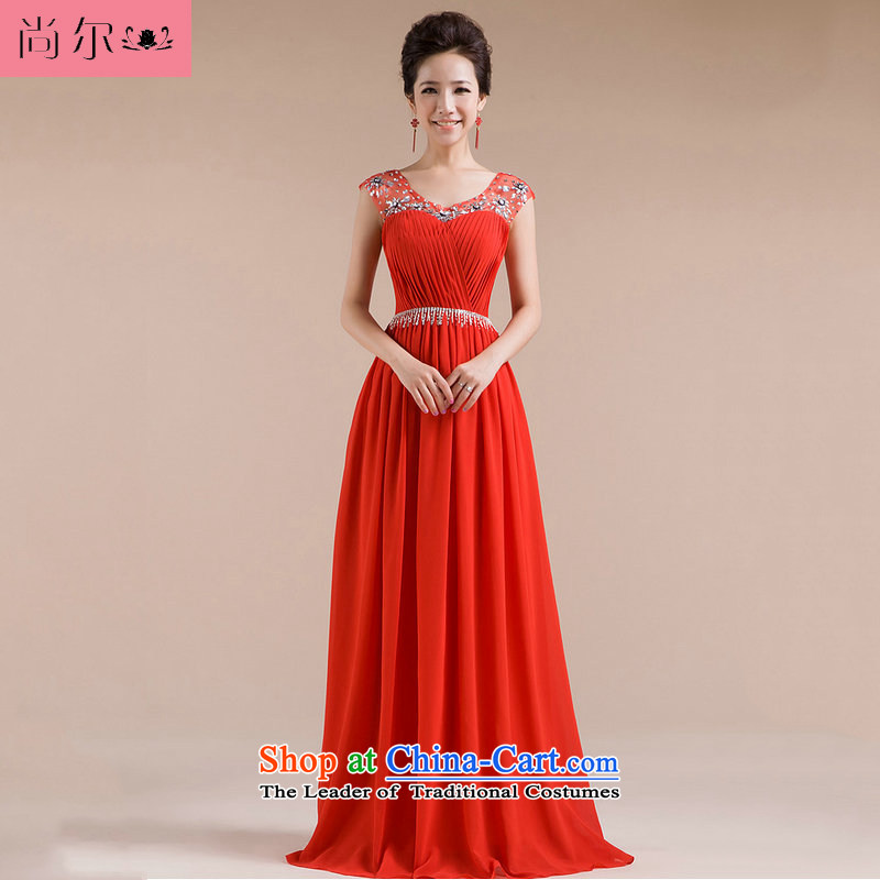 Naoji a 2014 new marriages of evening dresses bows service long chiffon dress al00263 red?s