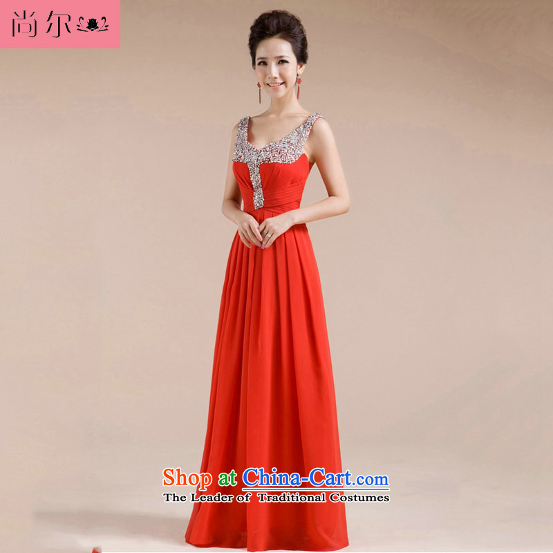 Naoji a 2014 new bride wedding dress dinner dress uniform al00262 bows red�XL