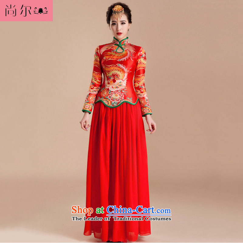 Yet a red wedding dresses long-sleeved qipao reinsert retro-niang bows wedding services al00258 red?XXL