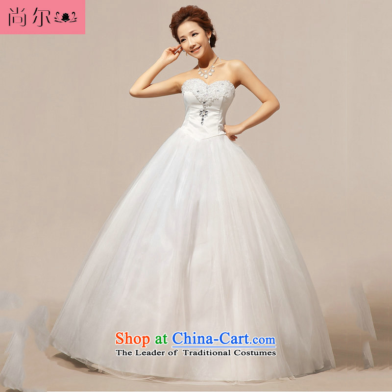 Naoji a 2014 new wedding anointed chest crystal Korean wedding dress al00332 White?XL