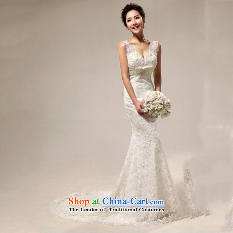 Naoji a 2014 New royal retro deluxe lace Sau San crowsfoot tail bride wedding al00311 white?s