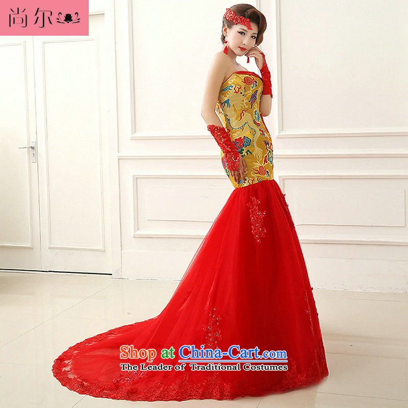 Yet, 14 new crowsfoot tail nights at the robes of the dragon, marriage and chest Chinese dresses bows al00310 Yellow聽M