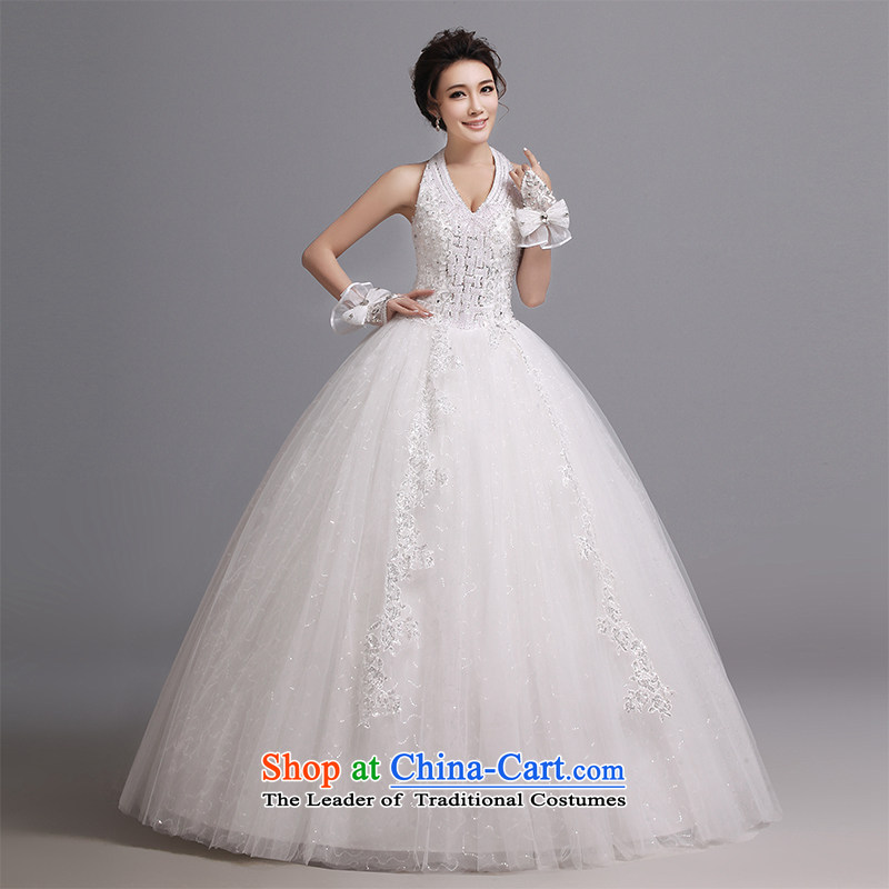 Hei Kaki wedding dresses 2015 new Korean deep V to align the strap around your neck to align the lace bon bon wedding J002 White聽XL