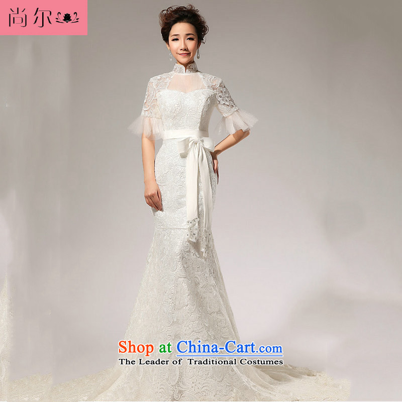 Yet, a new 2014 Spring/Summer in small crowsfoot/lace tail wedding al00309 White XL