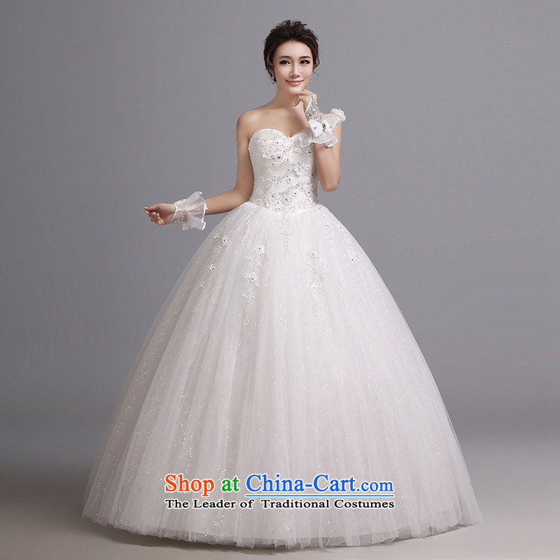 Hei Kaki wedding dresses 2015 autumn and winter new Korean drill align to bind the strap with single shoulder wedding J004 White聽M