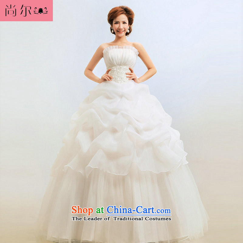 Naoji one wiping the Chest Korean-style 2014 princess graphics thin wedding bride wedding Korean wedding dress?al00307?White?XL