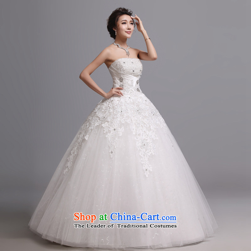 Hei Kaki wedding dresses 2015 autumn and winter new Korean wiping the chest to bind with marriages wedding J008 White�XL