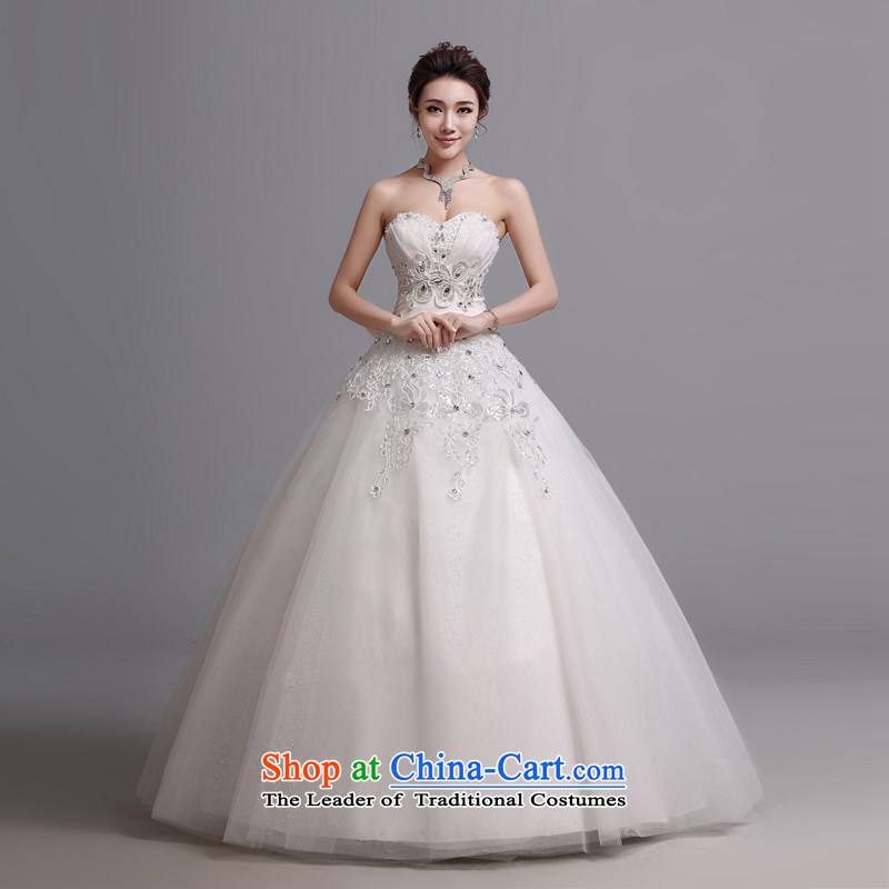 Hei Kaki wedding dresses new 2015 autumn and winter Korean Sau San video new thin and chest straps to wedding J017 white�L