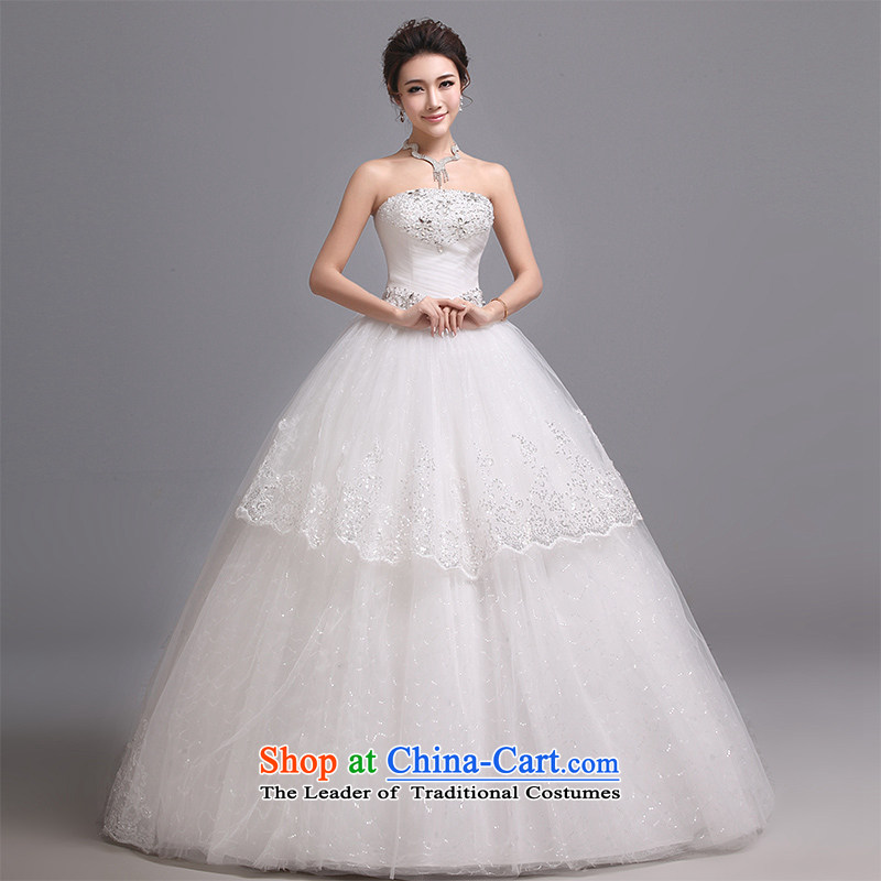 Hei Kaki wedding dresses 2015 new Korean wiping the chest to bind with luxury water drilling in the fourth quarter of lace J012 white�XS