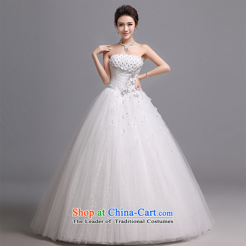 Hei Kaki wedding dresses?2015 new Korean wiping the chest to bind with Korean sweet ladies princess wedding?J013?White?XL