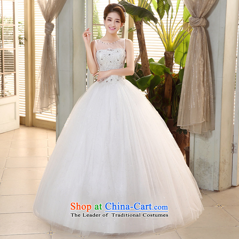 Hiv Miele wedding dresses 2015 new transparent gauze shoulders a field shoulder Korean lace wiping the chest straps to align the Sau San yarn�H-75�white�L