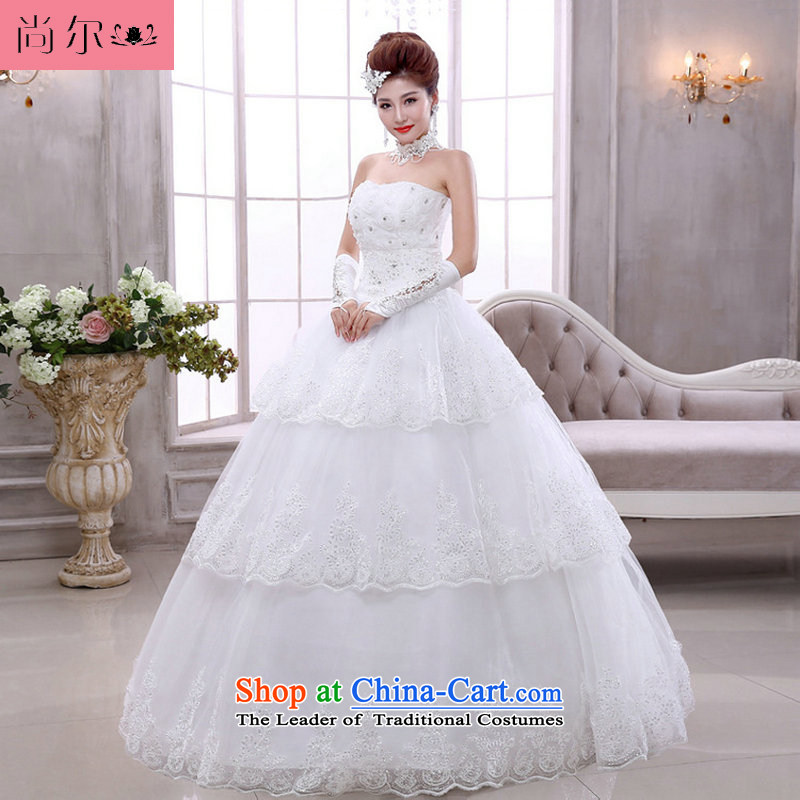 Naoji a bride light white Korean version of V-neck in the spring to align the marriage straps wedding dresses al00304 White�M