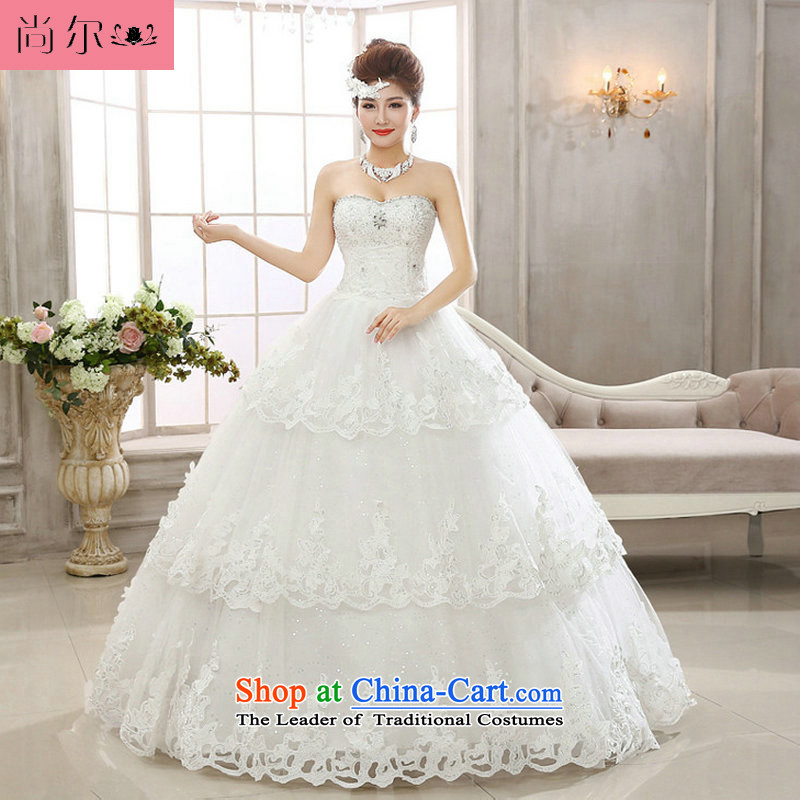 Yet, a new paragraph with chest water drilling nail pearl video thin car bone flower bride wedding dresses Ultra sparkling wedding al00298 White�XXL