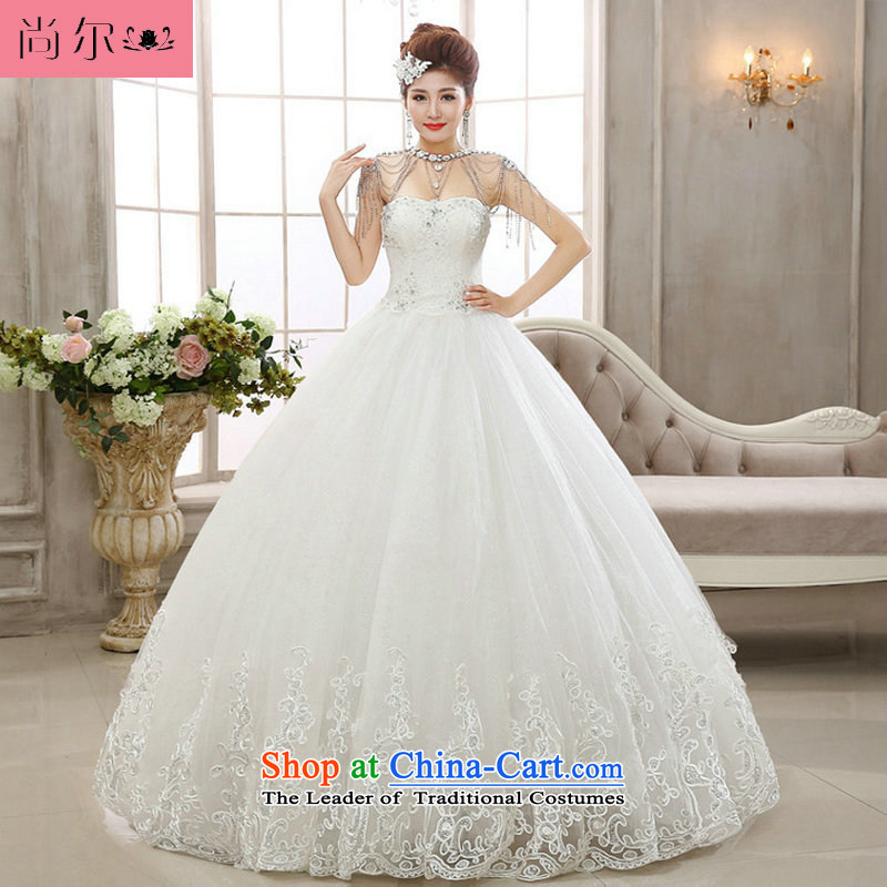 Naoji a 2014 new anointed chest love for white lace Korean brides retro Couture fashion wedding al00297 White?XL