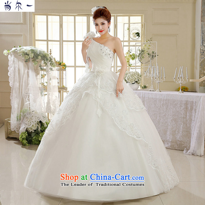 Naoji a 2014 new shoulder white lace female Korean fashion to align Spring Antique wedding dress al00296 White�M