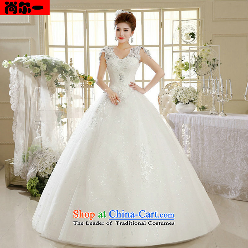 Naoji a 2014 Summer female white bride to align the new Korean light retro V-Neck wedding dress al00295 White?XXL