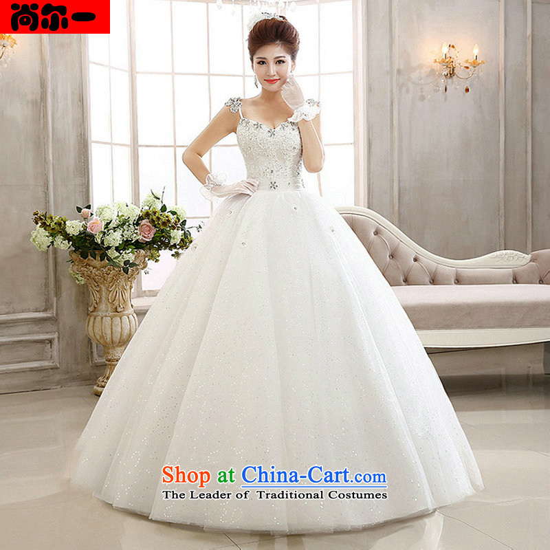 Naoji a 2014 lace flash drill to align the shoulder strap Fung skirt The Princess Bride wedding dresses al00293 White?XL