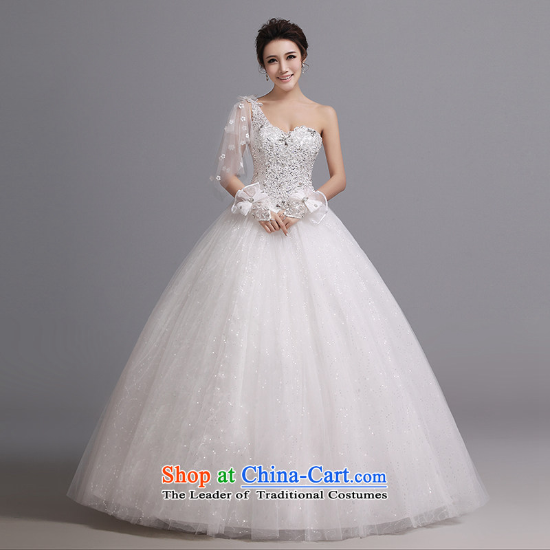 Hei Kaki wedding dresses 2015 autumn and winter new beaded shoulder straps to align marriages wedding J001 white�XS