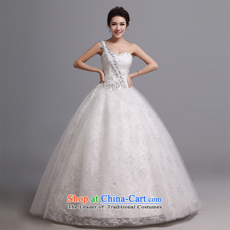 Hei Kaki wedding dresses 2015 autumn and winter new sexy to align the shoulder straps marriages stylish wedding J021 Korean White?XXL