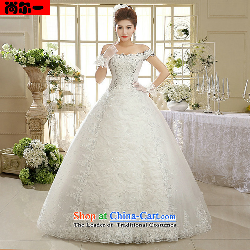 Naoji a 2014 new white women wedding dresses Korean word shoulder retro lace, al00315 White?XL