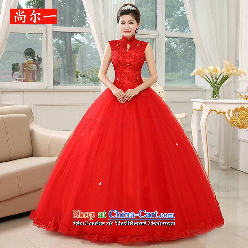 Naoji a 2014 new red wedding dress bride to align graphics thin package shoulder straps lace retro al00316 RED?M