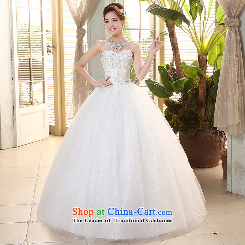 Hiv Miele wedding dresses 2015 new Korean diamond heart-shaped anointed chest lace PEARL FLOWER straps to align graphics Sau San thin?H-73?White?M