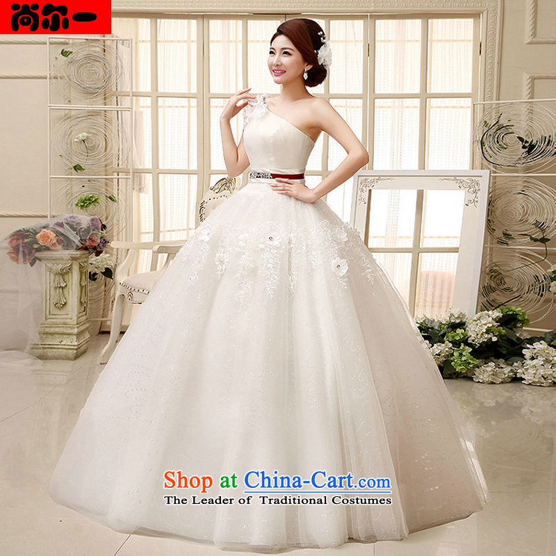 Naoji a 2014 new wedding dress shoulder bon bon skirt Fashion to align manually flowers wedding al00319 white S