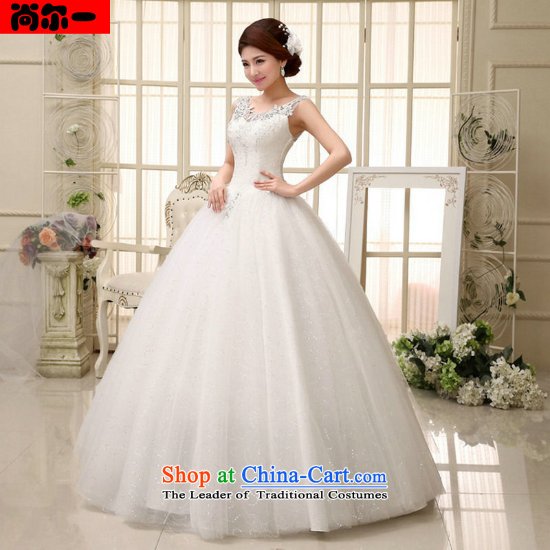 Naoji a 2014 new bride wedding dresses fine lace engraving package shoulder luxury marriage wedding dresses al00320 white?L