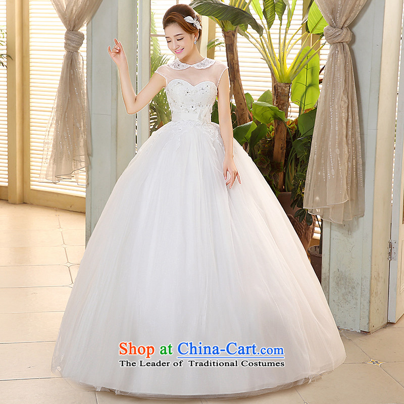 Hiv Miele wedding dresses 2015 new lace dolls collar gauze slotted shoulder Korean wiping the chest straps to align the Sau San yarn?H-76?White?XL