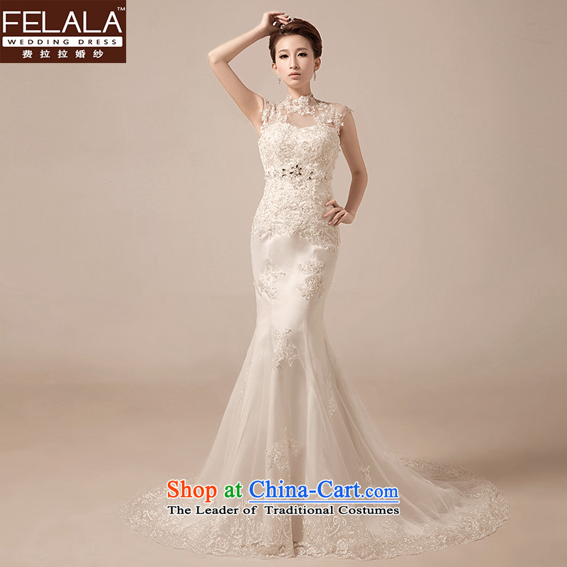 Ferrara wedding retro lace a shoulder-to-field also diamond marriages crowsfoot wedding dresses?XL(2 trailing foot 2