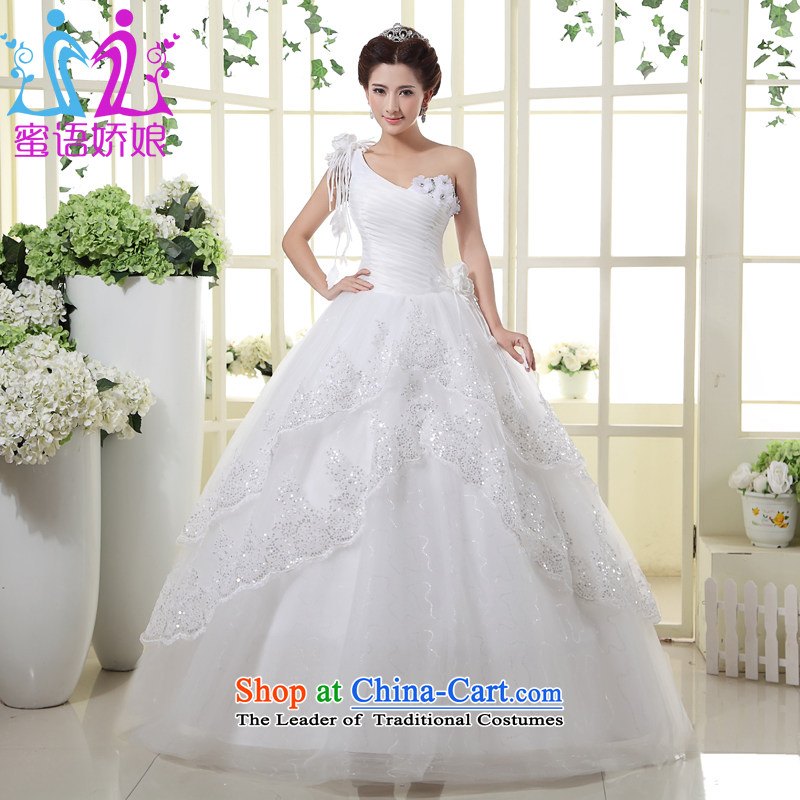 Talk to Her Wedding Dress 2015 new single white to align the Korean version of the video can be customized thin princess large wedding White?M