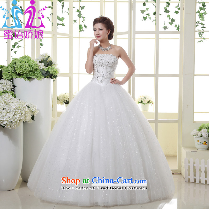 Talk to Her Wedding Dress 2015 new wiping the chest to marry the Princess Bride large elegant sweet Korean Bridal Suite white?L