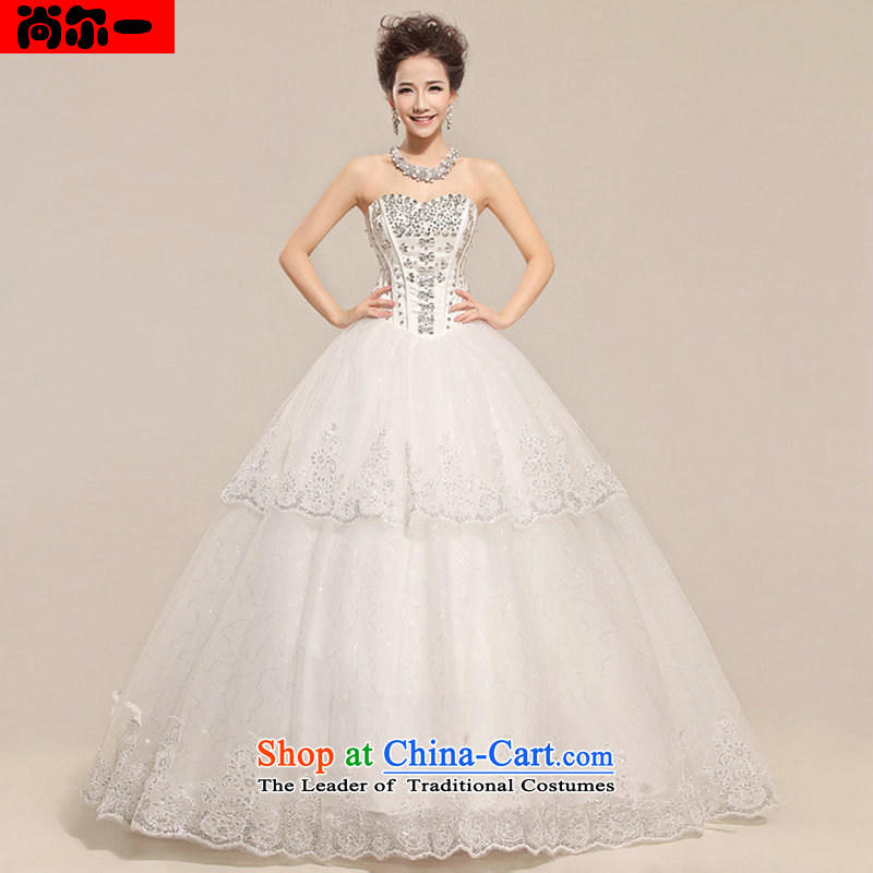 Yet, a new paragraph in the breast of his waist straps to align the princess skirt video thin Korean wedding dress XS1308 White XL