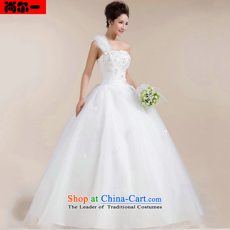 A wedding dresses naoji Korean wiping the chest straps tail strap sweet Beveled Shoulder shoulder wedding XS1303 White?XXL
