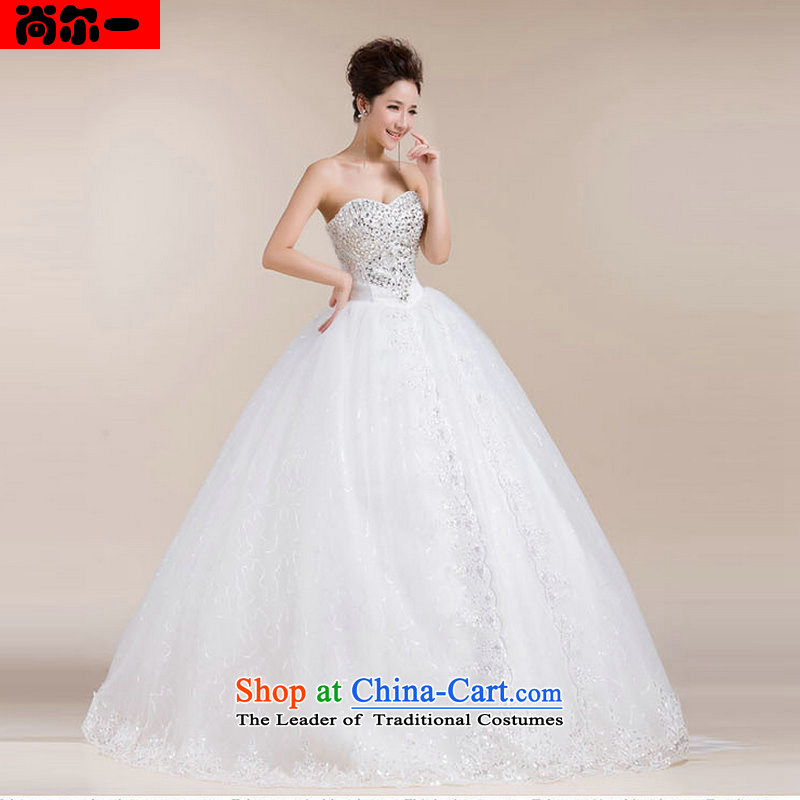 Yet, a wedding dresses and stylish Korean heart anointed chest lace bon bon skirt to align the cake skirt XS1307 White聽M