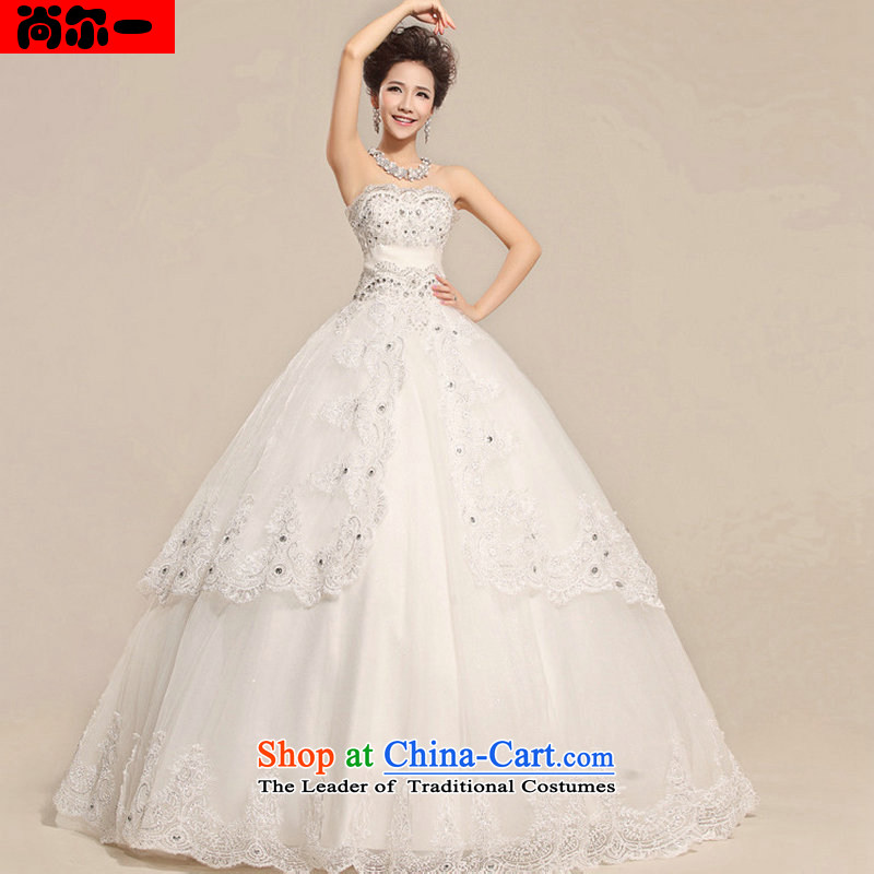 Naoji a new light on the 2014 decorated with chest lace noble pregnant women Top Loin of royal wedding dresses xs8708 white?S