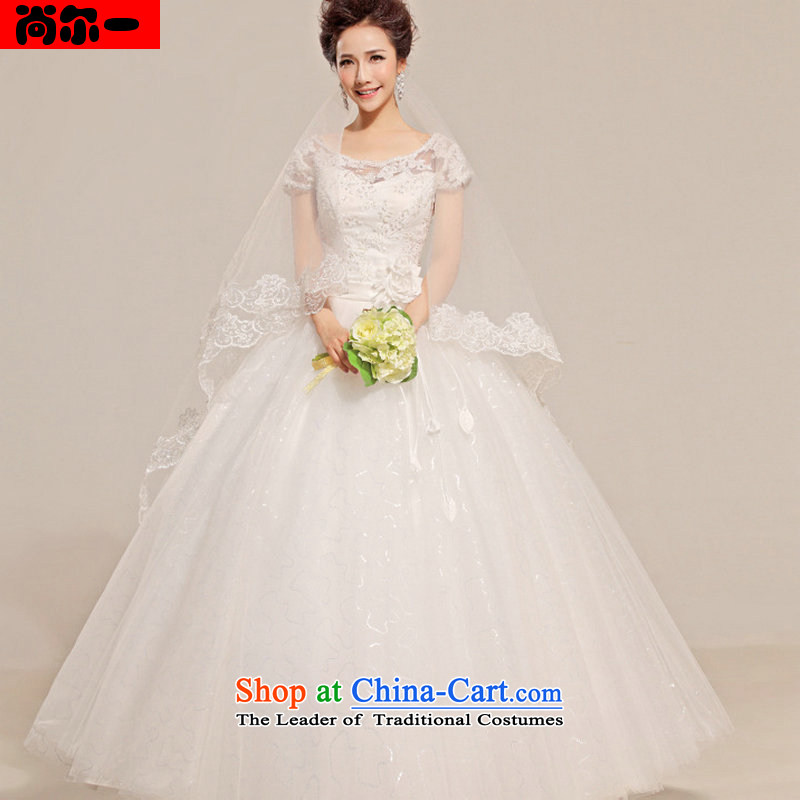 Naoji a lace on drill one field shoulder wedding dresses, align the petticoats Sau San tie bon bon skirt sx8702 white L