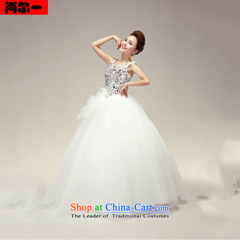 Yet, a new paragraph Korean shoulders with diamond Princess Bride wedding dresses to align bon bon skirt wedding XS1310 white?L