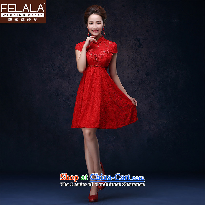 Ferrara?2015 new red bridesmaid bows services marriages Chinese improved Dress Short of Qipao?XL(2 gauge 2