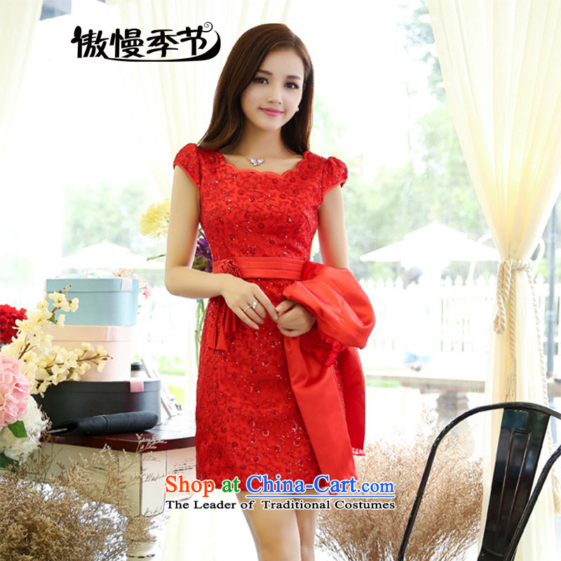 The?2014 autumn-hee new bride red petticoat marriage lace red petticoat bride back to door long-sleeved dresses red bows red?L