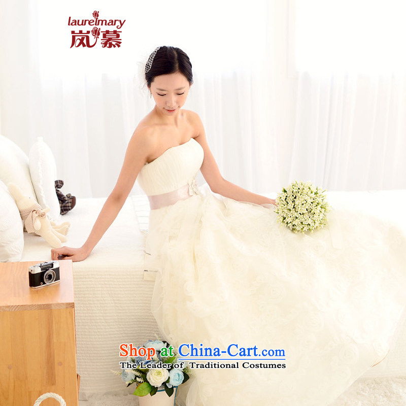 The sponsors of the 2014 New LAURELMARY, Korean sweet-folds out lovely Chest Flower waistband foutune gauze small A swing to align the wedding ivory聽XL_B-95_W-79_
