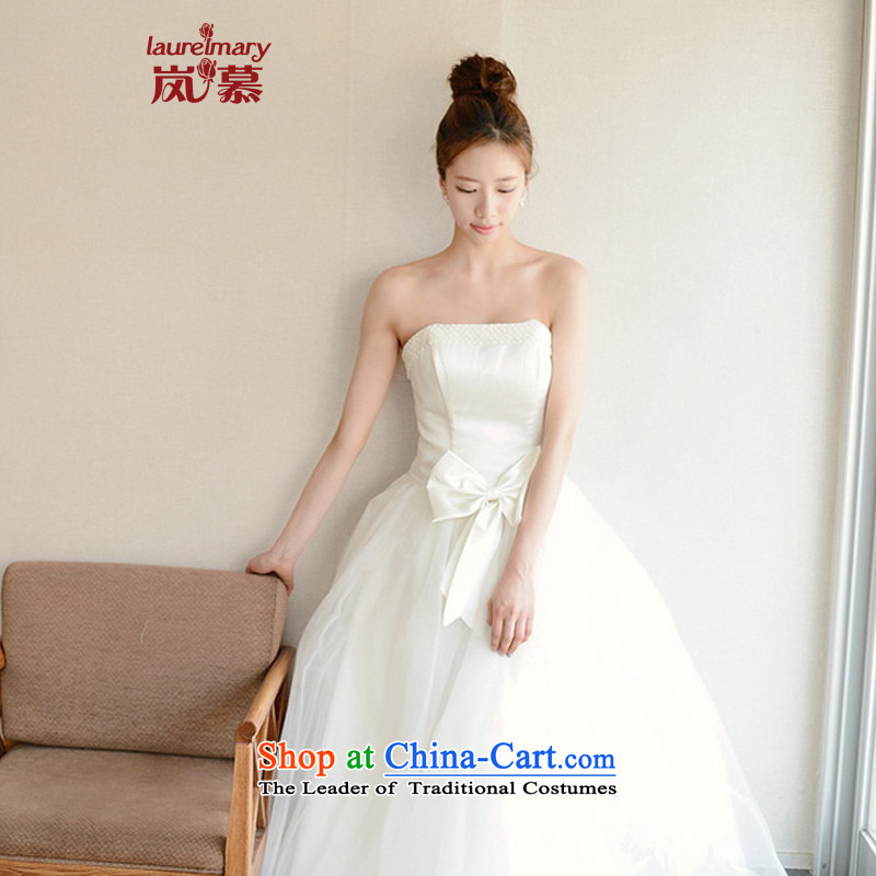 The sponsors of the 2014 New LAURELMARY, Korean minimalist temperament and chest foutune bow tie gauze A swing skirt to align the bride wedding XL_B-95_W-79_ pure white