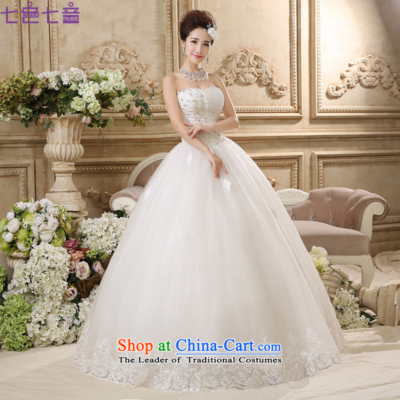 7 Color 7 tone Korean new products by 2015 princess large graphics thin-Sau San wiping the chest to wedding?H042?White?XXL