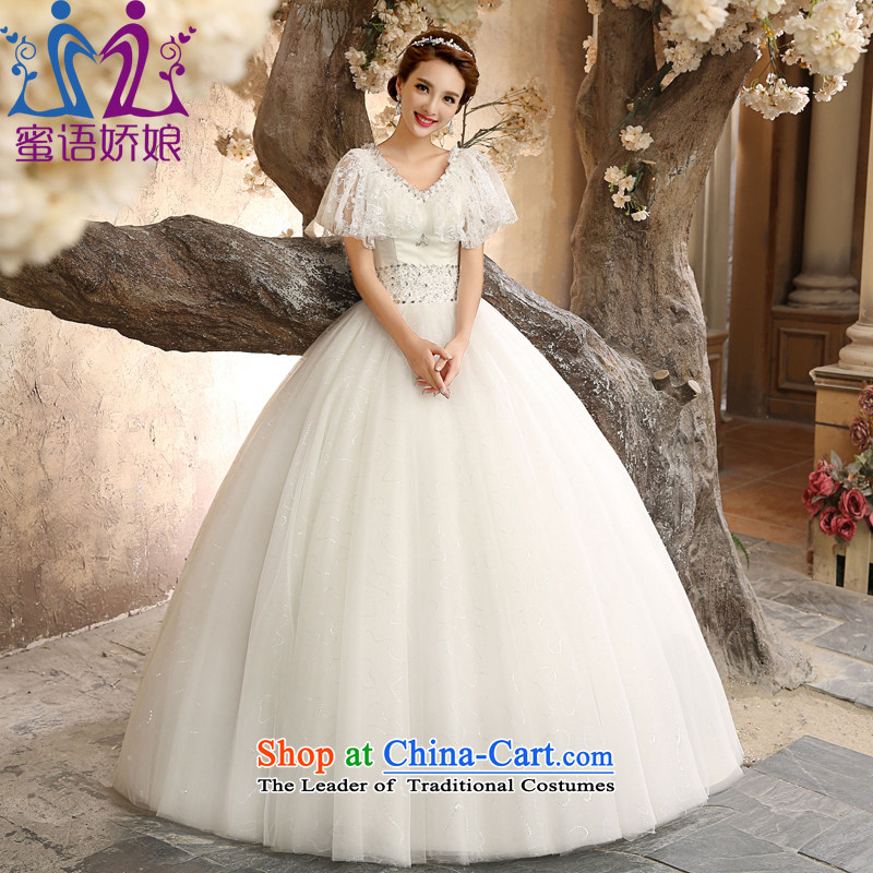 Talk to Her Wedding Dress 2015 new strap to align a Field package shoulder collar height waist version of large Korean brides thick wedding gown code can be tailored tailored White