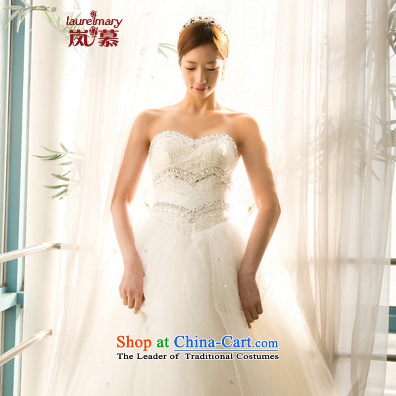 The sponsors of the 2015 New LAURELMARY, Korean romantic heart-shaped anointed chest manually beaded Foutune of video thin bon bon skirt to align the bride wedding ivory?XL(B=95/W=79)