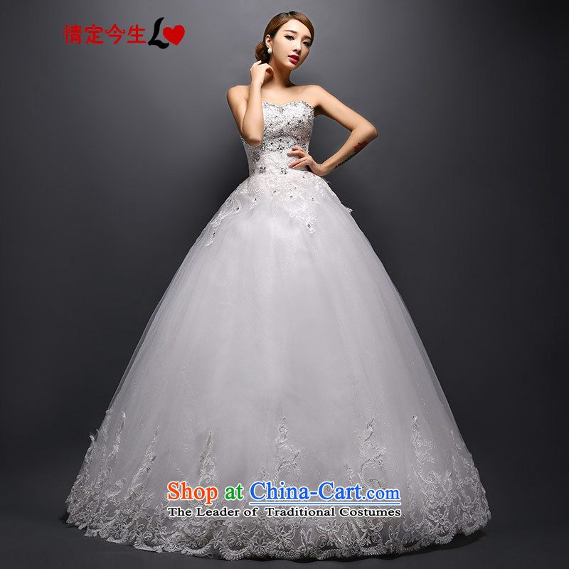 Love of the overcharged by 2015 new diamond wiping the chest wedding continental bride white dresses fall to align the Sau San white XS