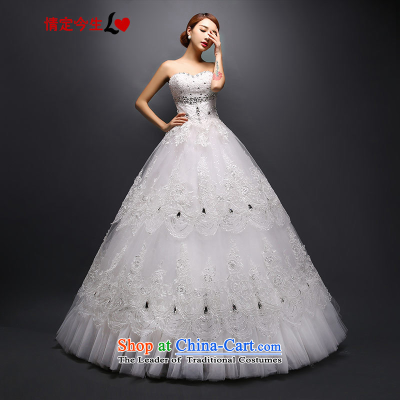 Love of the life of the new Korean version of 2015, Mary Magdalene Chest straps to align the bride winter wedding dresses and stylish graphics thin White XXL