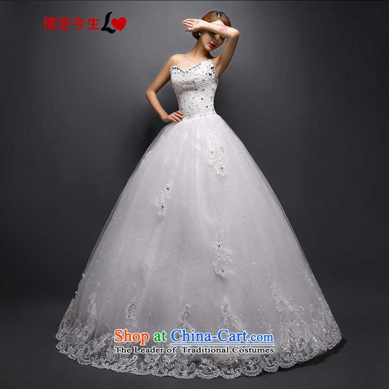 Love of the overcharged 2015 new stylish Korean heart-shaped anointed chest water drilling video thin wedding dresses tailored White?XL